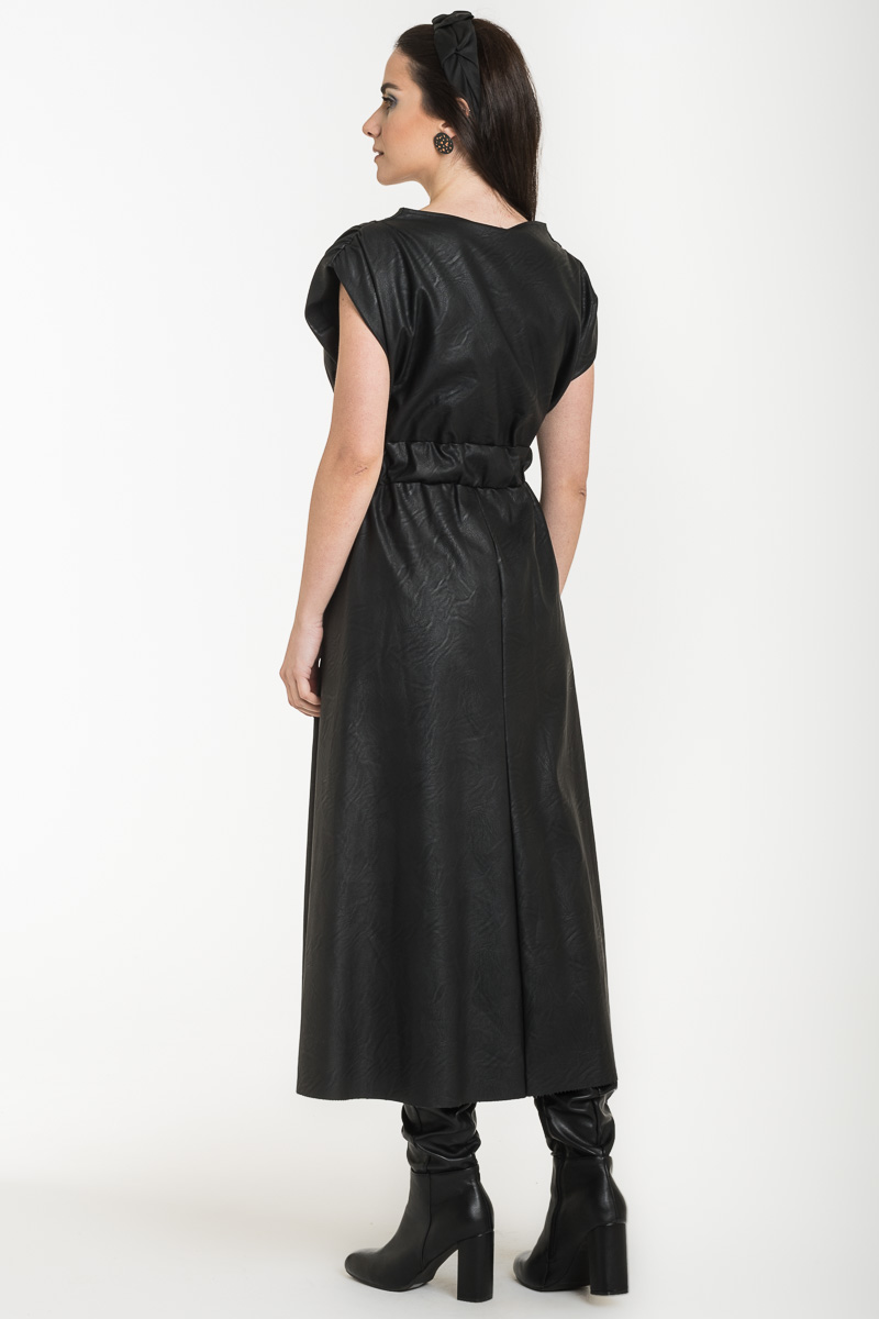 Μαύρο Αμάνικο Μίντι Φόρεμα Δερματίνη Κρουαζέ