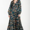 Πετρόλ Σατέν Φόρεμα Με Σχέδια Λεοπάρ & Μανίκι Φουφούλα
