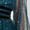 Πετρόλ Φόρεμα Τούλι Με Αστέρια & Μανίκι Φουφούλα