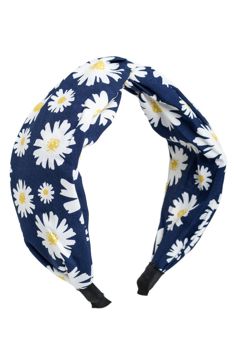 Μπλε Μαργαρίτες Φαρδιά Στέκα Μαλλιών Κρεπ Στυλ Τουρμπάνι