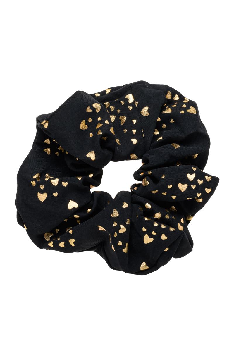 Μαύρο Scrunchie Large Σούρα Μαλλιών με Καρδιές Χρυσαφί
