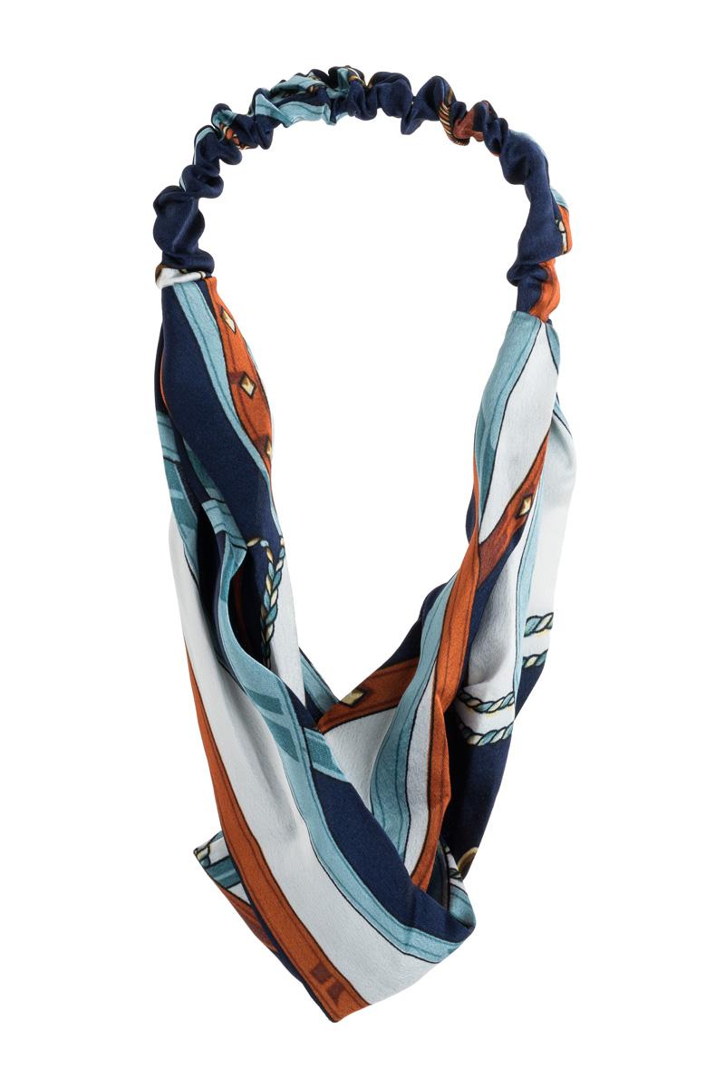 Μπλε Σατέν Κορδέλα Μαλλιών Τουρμπάνι Ναυτική Αλυσίδα